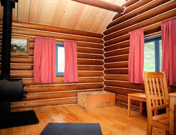 Interior of cabin, Becker's Lodge, Bowron Lake, BC