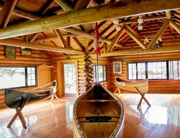 Canoes at Becker's Lodge, all season resort on Bowron Lake