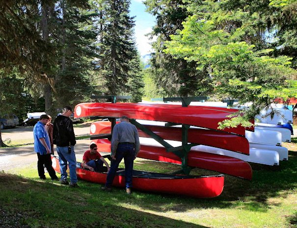 large fleet of Canoe rentals at Bowron Lake, BC