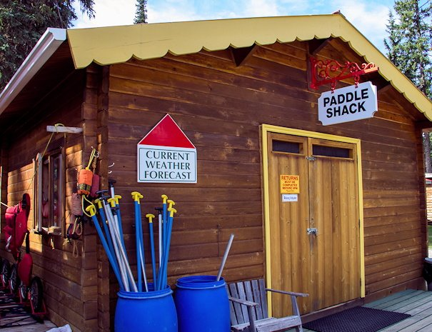 paddle shack for Canoe rentals at Bowron Lake, BC