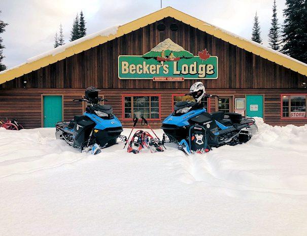 snowmobile winter adventures at Becker's Lodge, Bowron Lake, BC