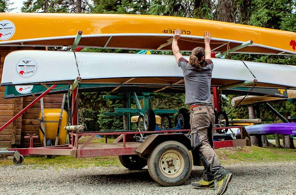 loading canoes for Bowron Lake Canoe Circuit