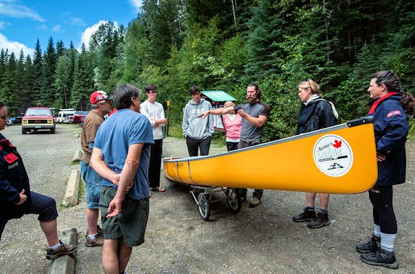 unloading canoes for Bowron Lake Canoe Circuit