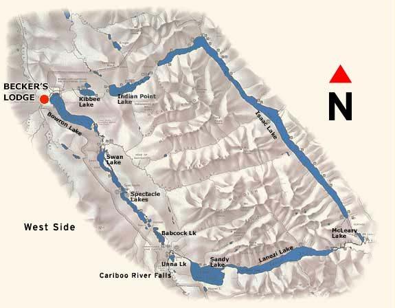 Map of Bowron Lake Provincial Park Canoe Circuit